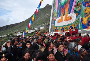 Hundreds of Tibetan pilgrims and lamas attending the  Buddha Exhibition Festival in Tashilumpo Monastery.