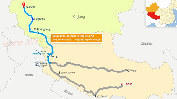 map of xinjiang tibet highway