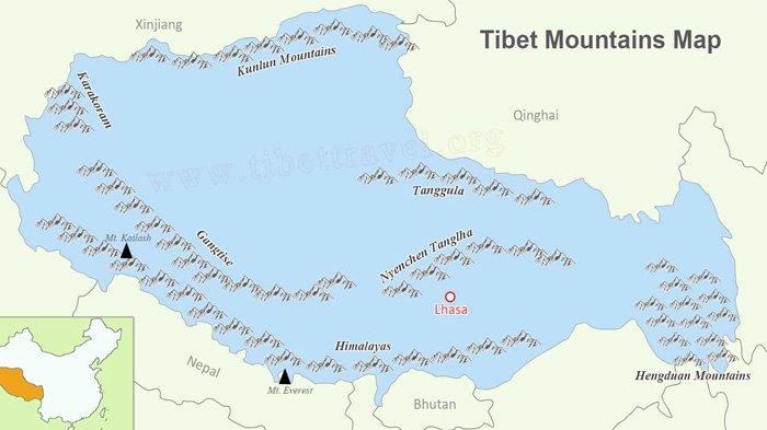 Tibet Mountains, Tibet Mountain Ranges