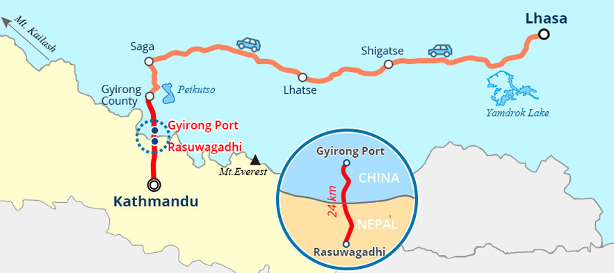 Trip route from Gyirong Port to Kathmandu
