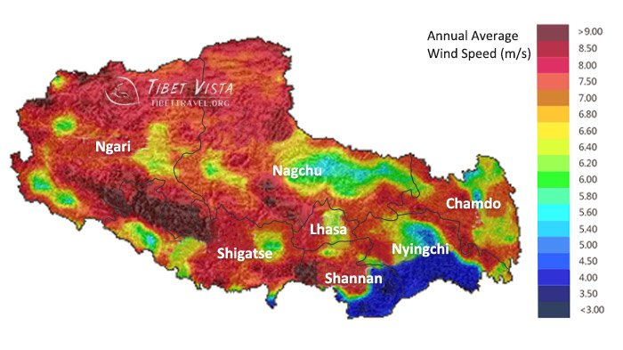 wind speed of tibet