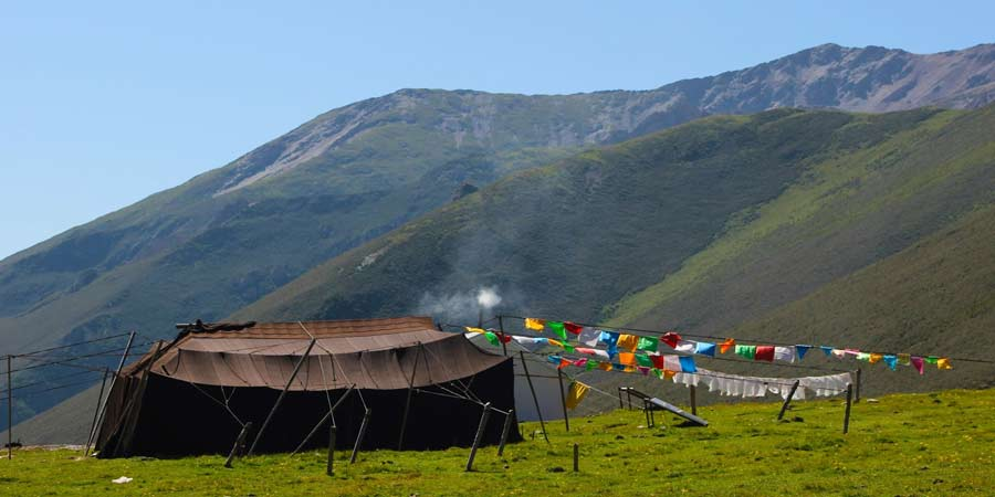 Tibetan Nomads living on highland