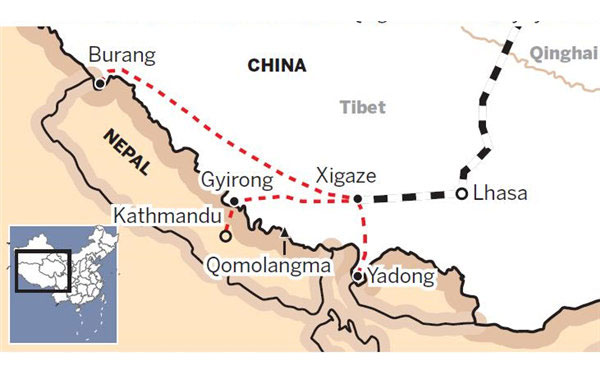 Lhasa Yadong Train Map
