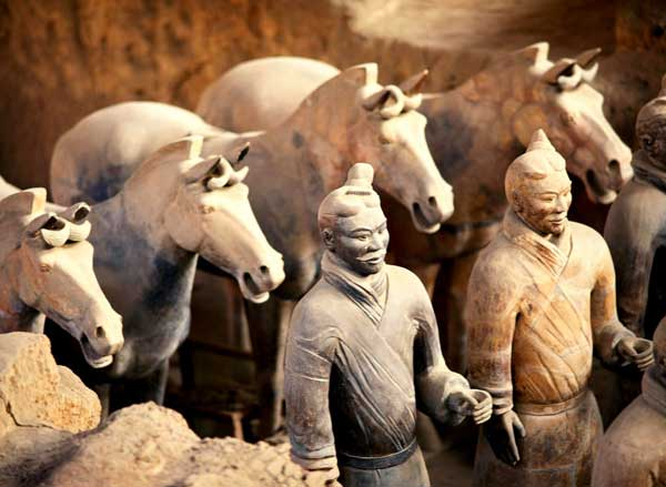 Terra-cotta Warriors and Horses were modeled on Qin Shihuang's soldiers and real horses.
