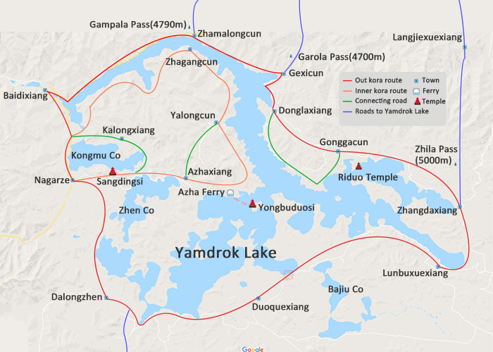 Yamdrok Lake Tour Map