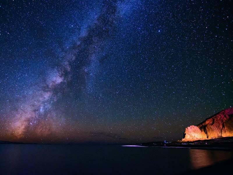 Starry sky over Namtso Lake