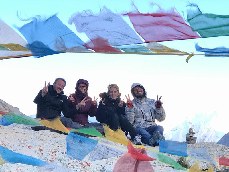 Appreciating flag-clouds at Everest Base Camp