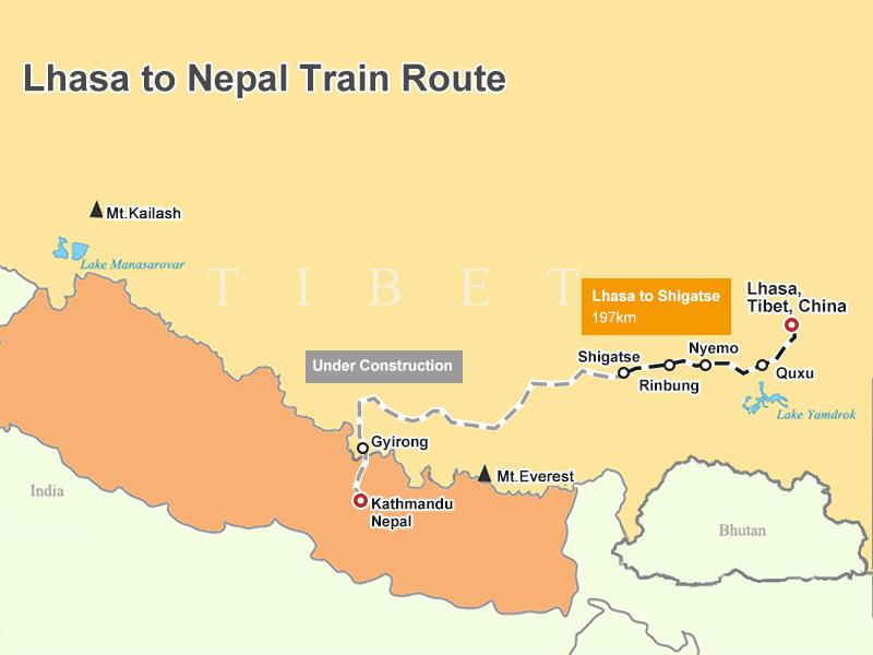 Tibet Nepal Train Map