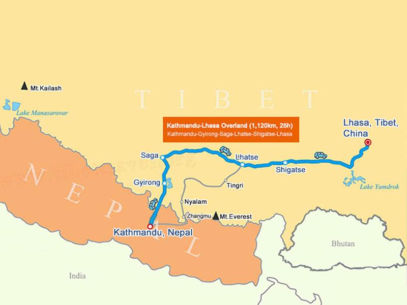 Nepal-Tibet Overland Map