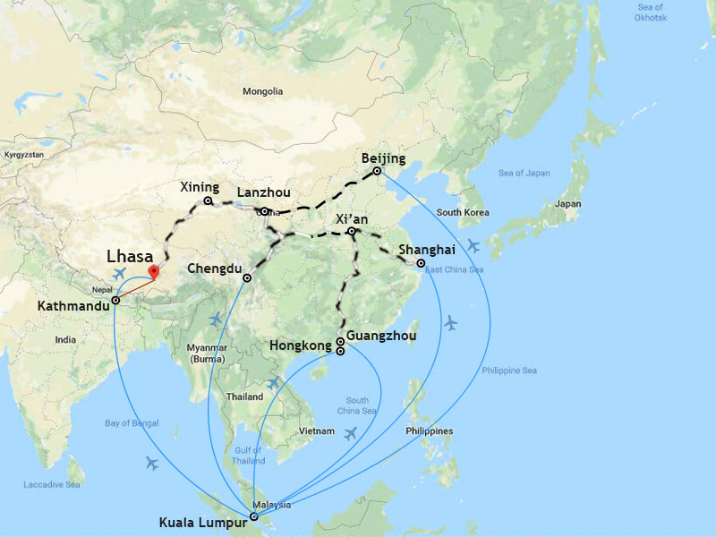 Ways to travel from Malaysia to Tibet.