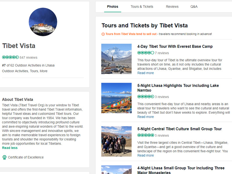 Tibet Vista's Reviews on Tripadvisor