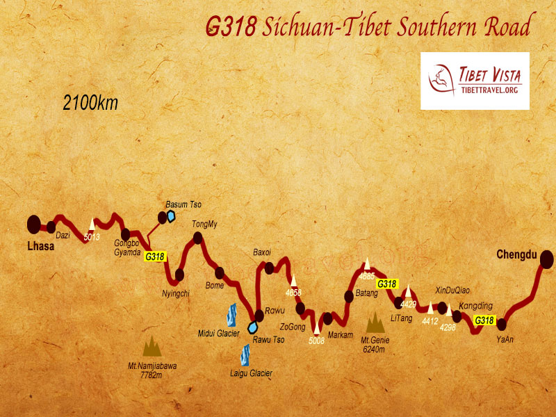 Sichuan Tibet Highway Southern Route Map