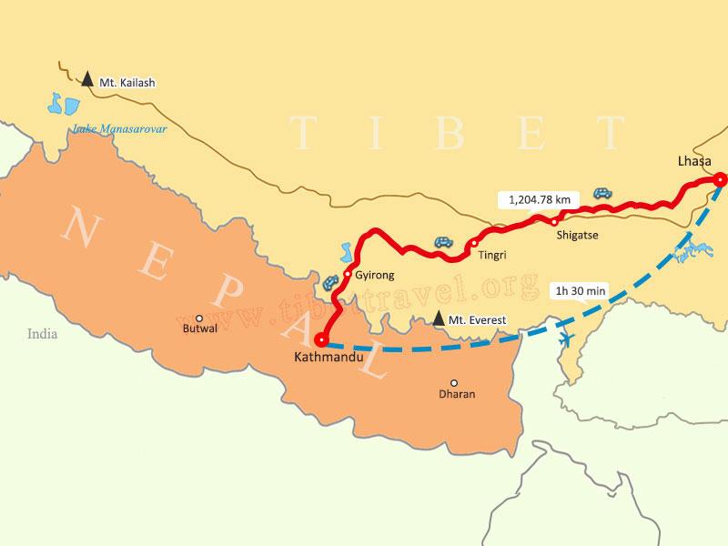 Kathmandu to Lhasa Map