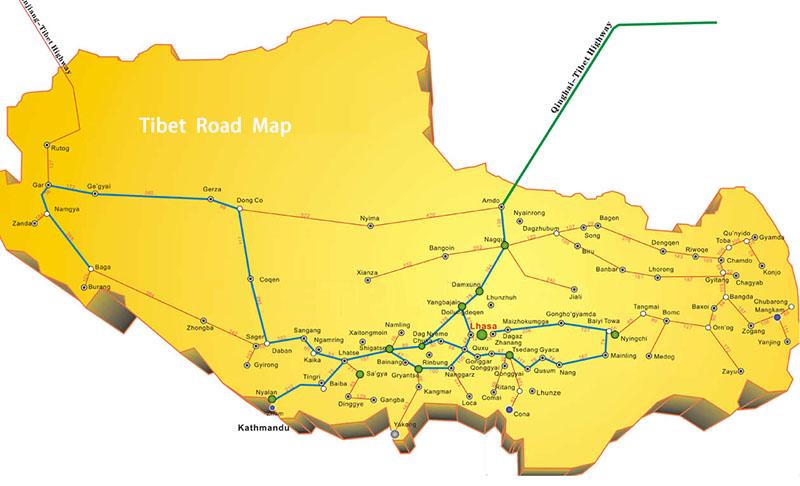 Tibet Road Map,Road Map of Tibet