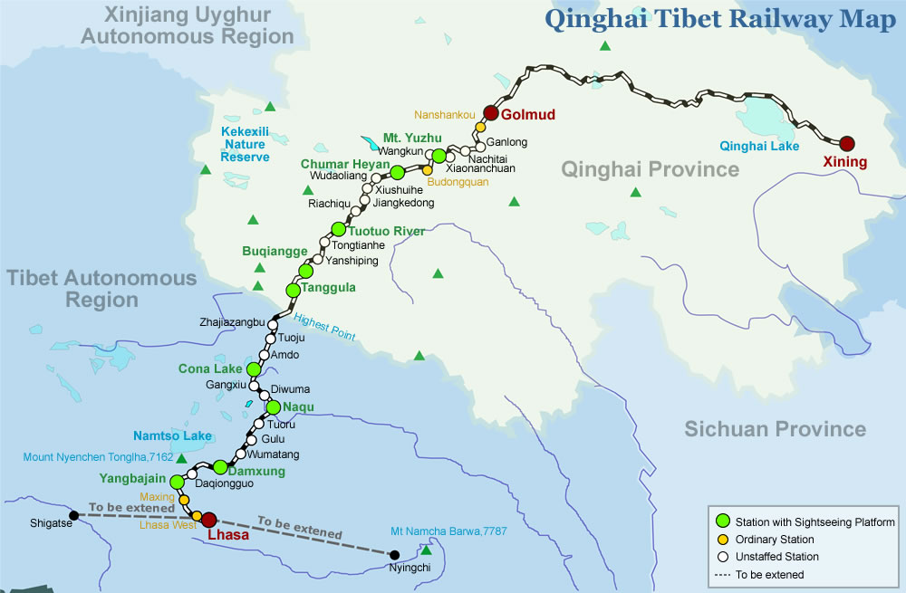 Tibet Railway Map